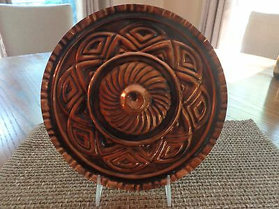 Vintage Copper Decorative Charger Hammered Plate - Romanian