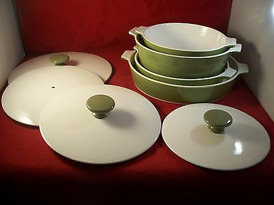 Vintage Olive Green Corning Ware 8 Pieces 2  Casseroles and 2 Pans With 4  Lids
