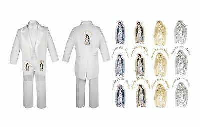 Baby Boy Christening Baptism White Tail Suit VirginMary Maria Stole Back Sm-7