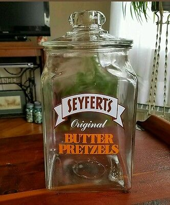 Vintage Seyfert's glass pretzel jar with lid