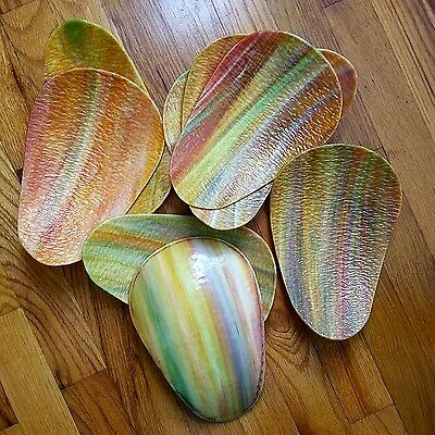 Curved slag glass, 8 pieces, color variety, unbroken.