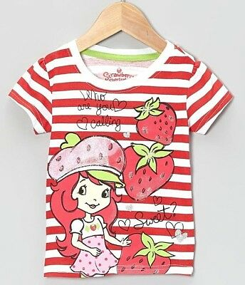 Strawberry Shortcake Girl Short Sleeve Red Striped T Shirt Toddler Size 2T New