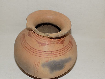 Pre-Columbian Globular Pot with Red Polychrome Lines, Costa Rica