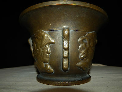 Antique Brass Mortar With Colonial Heads