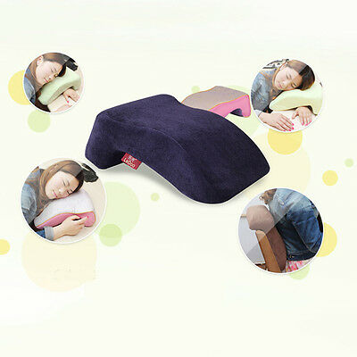 7 Shaped Travel Neck Pillow  Memory Foam Napping Pillowcase Navy Blue