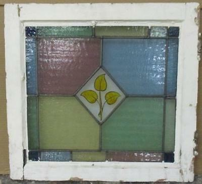 "OLD ENGLISH LEADED STAINED GLASS WINDOW Handpainted, Pretty Leaves 20"" x 18.75"""