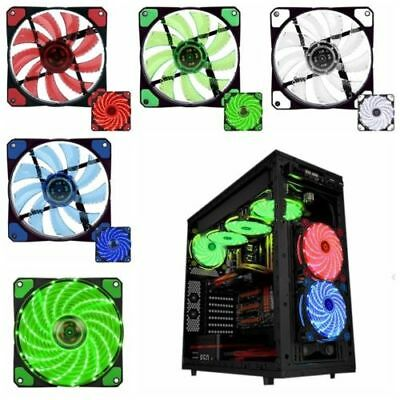 120mm 3-4Pin 15 LED Light Neon Quite Clear Fans PC Computer Case CPU Cooling Fan