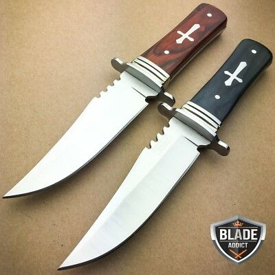 "2 PC 8"" STAINLESS STEEL CELTIC CROSS HUNTING KNIFE WOOD HANDLE Gothic Skinning"