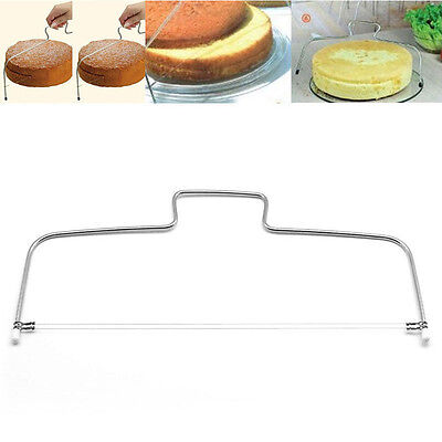 Silver 2 Wire Bread Slicer Leveler Cake Dough Cutter Tools Stainless Steel
