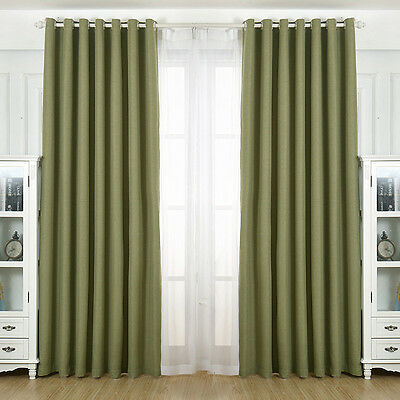 Blackout Curtain Solid Color Hotel Shading Drape 1PC House Window Grommet Panel