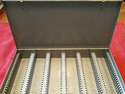 Vintage 35 MM Slide Tray Gray Metal File Storage Box