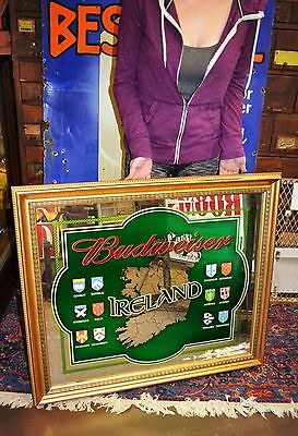 Large Budweiser Ireland Coat of Arms Bar Mirror Sign