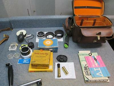 Nice Vintage Camera Bundle Lenses Shields Handle Bag Film Flash Extender Lens