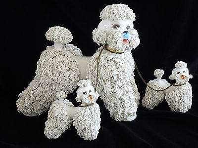 Vintage X-Large RARE WHITE SPAGHETTI POODLE with 2 PUPS