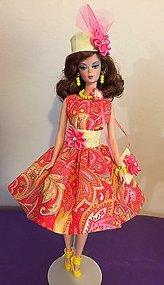 Barbie Silkstone Ooak Handmade Fashion Dress Set With Jewelry Hat And Purse