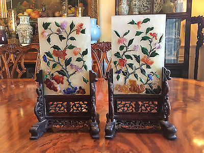 A Pair Qing Dynasty Jade with Gemstone Table Screen with Hardwood Stands.