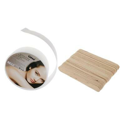 50Pcs Waxing Stick + Non-tissé Épilation Paper Roll Depilatory Wax Strips