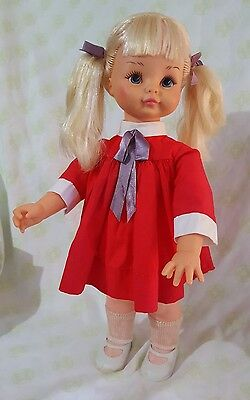 VINTAGE HORSMAN PEGGY PEN PAL DOLL 1970 Blonde Pigtails Red Dress Jointed Arms