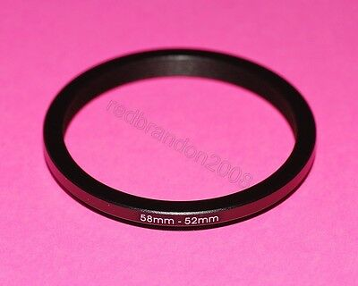 58mm to 52mm Step Down Adapter Ring Converter Holder Camera UV Filter Lens 58 52