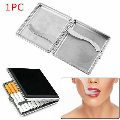 Black Pocket Leather Metal Tobacco 20 Cigarette Smoke Holder Storage Case