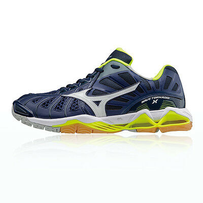 Mizuno Wave Tornado X Mens White Blue Squash Indoor Court Shoes Trainers
