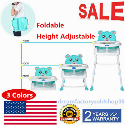 Portable Baby High Chair Infant Toddler Feeding Booster Folding Highchair Safety