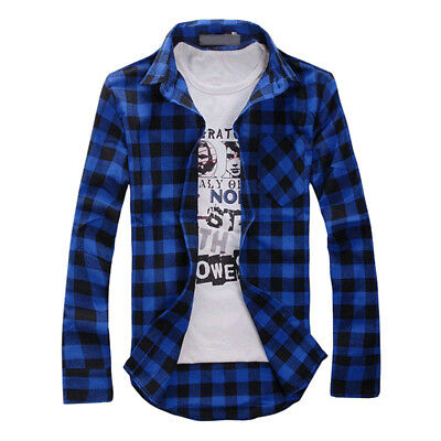 Men's Long Sleeve Casual Check Print Smart Cotton Work Flannel Plaid-Shirt-Top