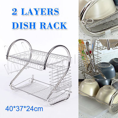 2 Layers Dish Rack Plated Steel Chrome Plate Cup Drying Tray Drainer Holder NEW