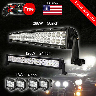 """50Inch Curved LED Light Bar + 24in + 4"""" CREE Pods Offroad SUV ATV Ford Jeep"""