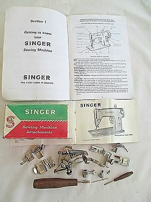 Singer Sewing Machine Attachments  + Instruction Books - Please see Photographs