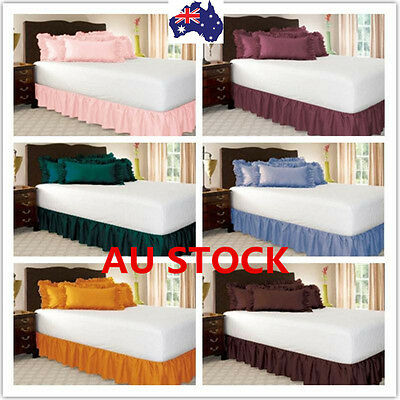 Elastic Ruffle Bed Skirt Easy Fit Wrap Around Soft King Queen Size Bed Skirt