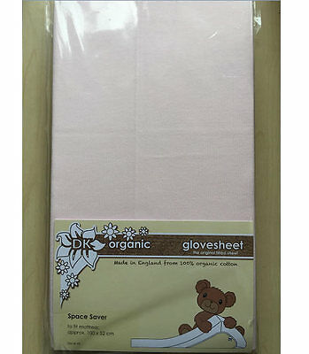 New DK organic glovesheet space saver cot mattress fitted sheet pink 100x52cm