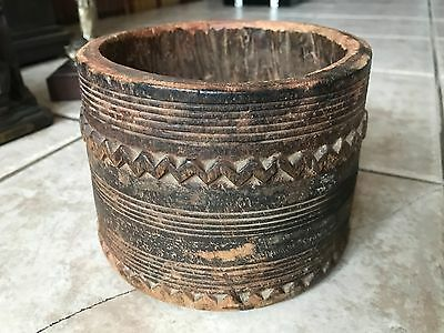 Antique 19Th Century Ethnographic Carved Wood Bowl- Oceanic/ African- Very Early