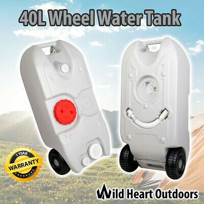 Portable 40L Wheel Water Tank Grey Camping Storage Caravan Motorhome Waste Gray