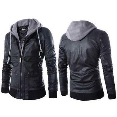 Fashion Slim Fit Hooded  Leather  Zip Jacket Men's Coat