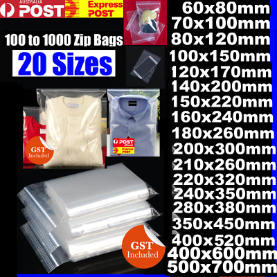 BULK 100 - 1000 Resealable Zip Lock Clear Plastic Bags A3 A4 C6 .. 15 Sizes