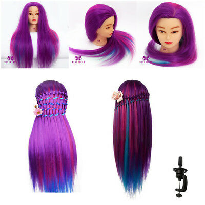 """24"""" 60CM Colorful Hair Training Head Mannequin Hairdressing Styling Doll + Clamp"""