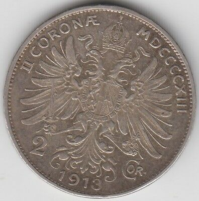 Coin 1913 Austria 2 cor silver issue with king at back, popular