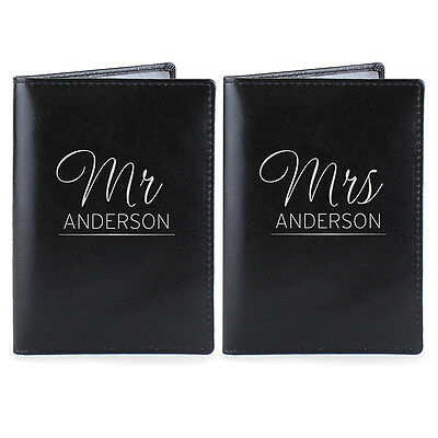 Personalised Mr & Mrs Passport Holder Cover Genuine Leather Holiday Wedding