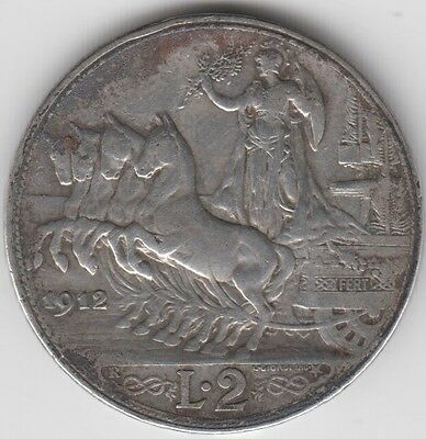 Coin 1912R Italy silver 2 lire chariot & horses issue in fine condition