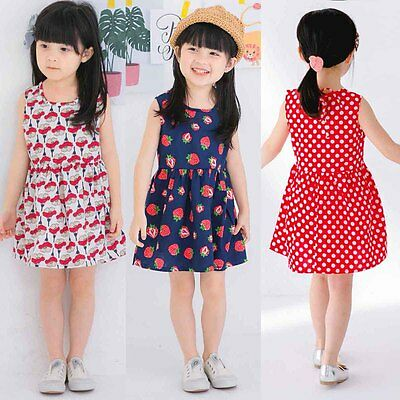 Flower Girl Summer Casual Dress Kids Baby Party Pageant Princess Dresses Clothes
