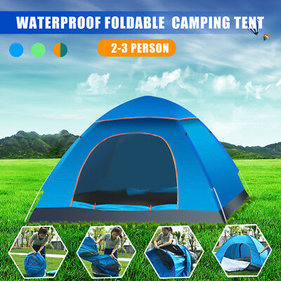 2-3 Person Waterproof Outdoor Automatic Pop Up Tent Beach Camping Hiking Travel