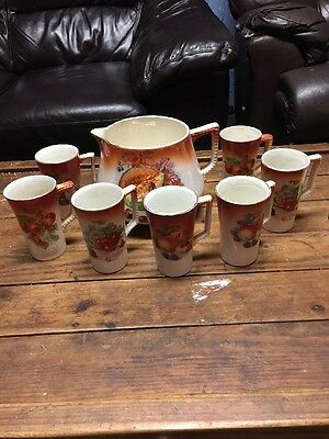 ANTIQUE VINTAGE DRESDEN CHINA Fruit COFFEE SET W/ 8 MUGS PITCHER  free shipping