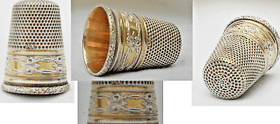 Superb Antique Victorian Era Sewing 900 Silver And Vermeil Roses Pattern Thimble