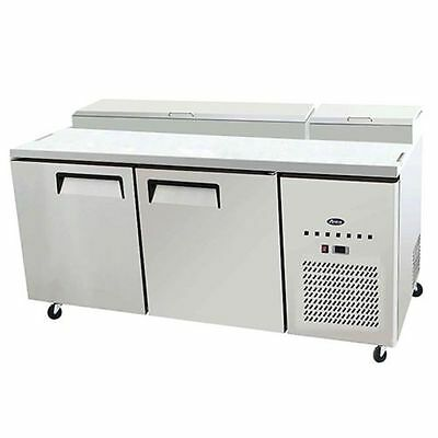 """New 67"""" Refrigerated Pizza Prep Table 2 Doors 9 Pans 19.5"""" Deep Board & Casters"""