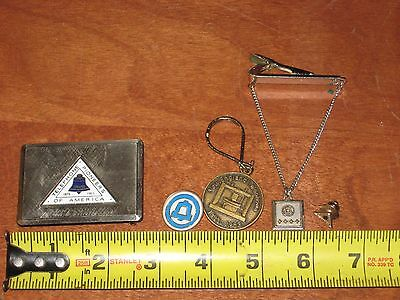 VINTAGE LOT New England Telephone Bell System Pin, Buckle, Tie Clip, ETC.