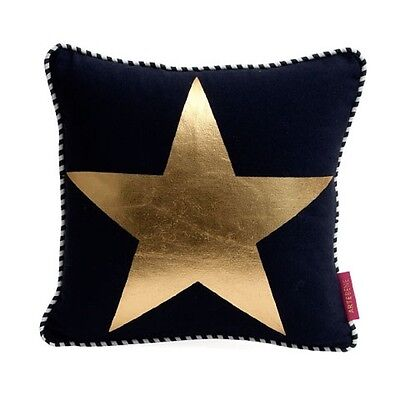 Cushion with Filling Star Black Gold 30x30 Stripes Dots Striped Filling