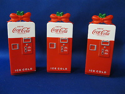 "Coca Cola  Three Christmas Ornaments "" Machine With Polar Bear:""  1994"
