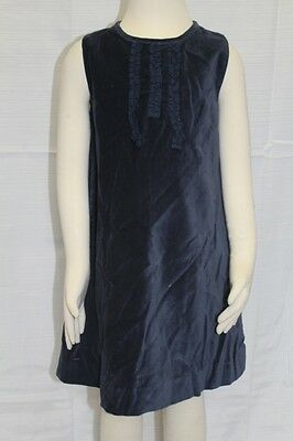 JACADI Girls Relaxer Navy Blue Sleeveless Cotton Velour Dress SZ 6 Years NWT $98