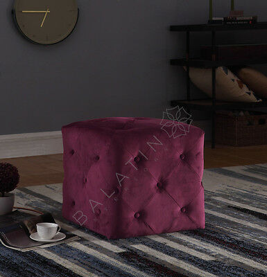 Brand New Luxury Square Buttoned Stool New In Velvet Various Colors Available
